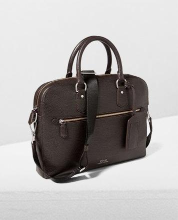 Dark brown leather briefcase with shoulder strap