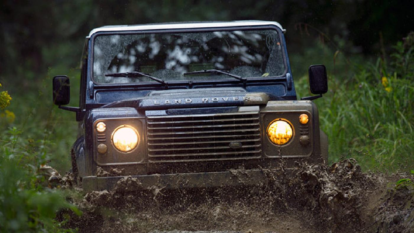 The Defender is ready for any kind of land, from dunes to swamps to muddy fields