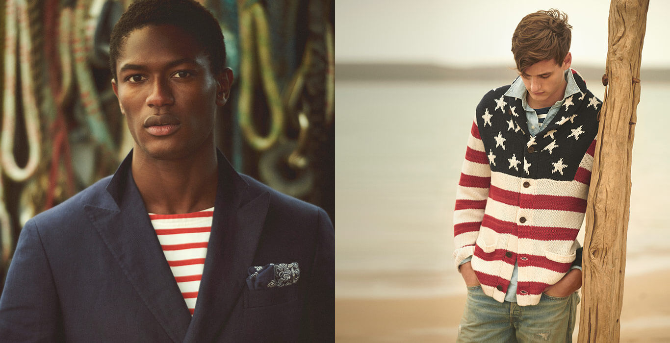 Man in navy blazer & red & white tee; man in flag cardigan