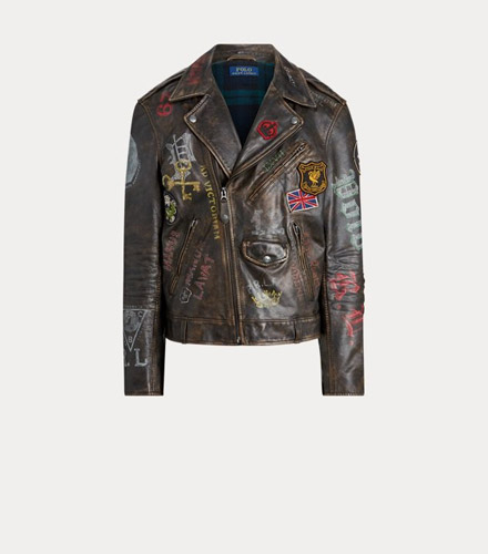 Weathered brown leather jacket with allover stencil-inspired graphics