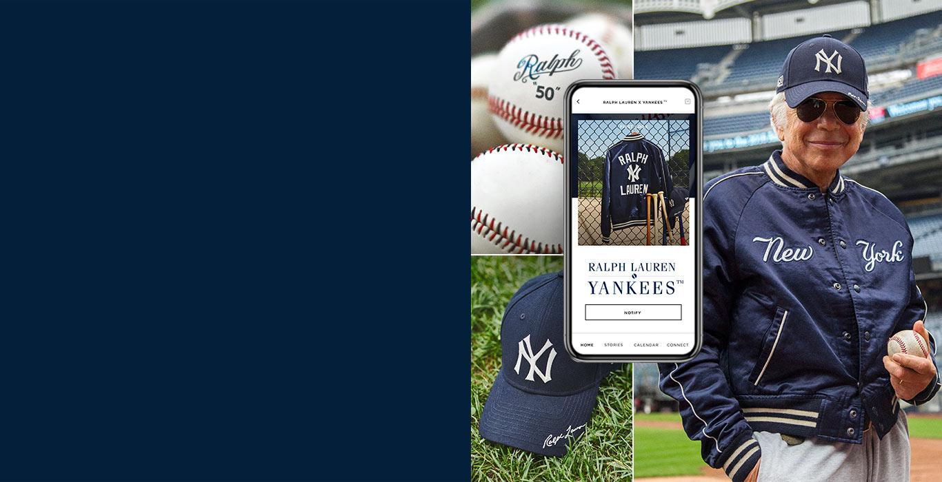 Mr. Lauren holding baseball wearing Ralph Lauren Yankees jacket & cap