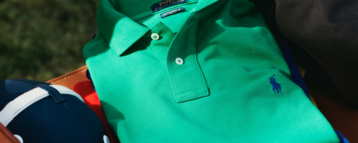 Kelly green Polo shirt with royal blue Polo Pony accent