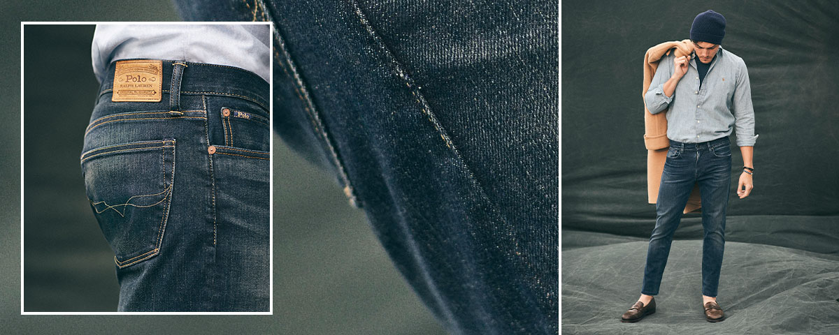 Close-up of Polo jeans; man wears Polo denim and button-down shirt.