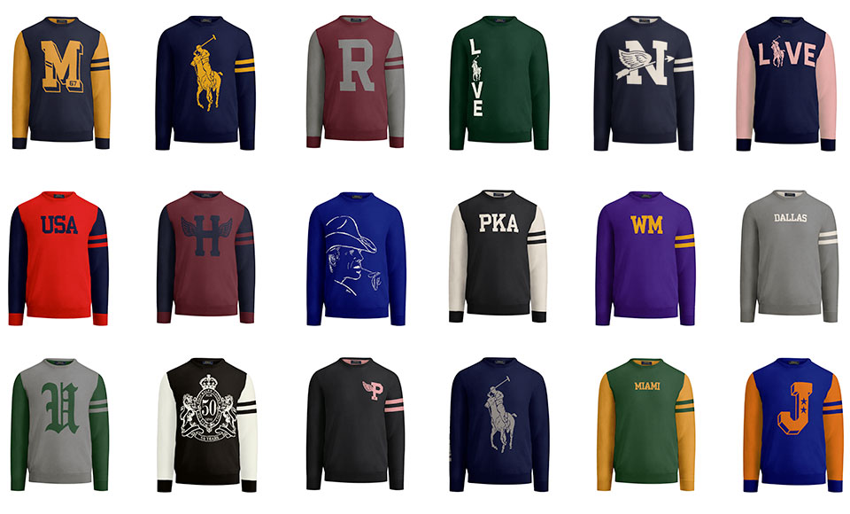 Grid of crewneck sweaters in various hues & with custom graphics