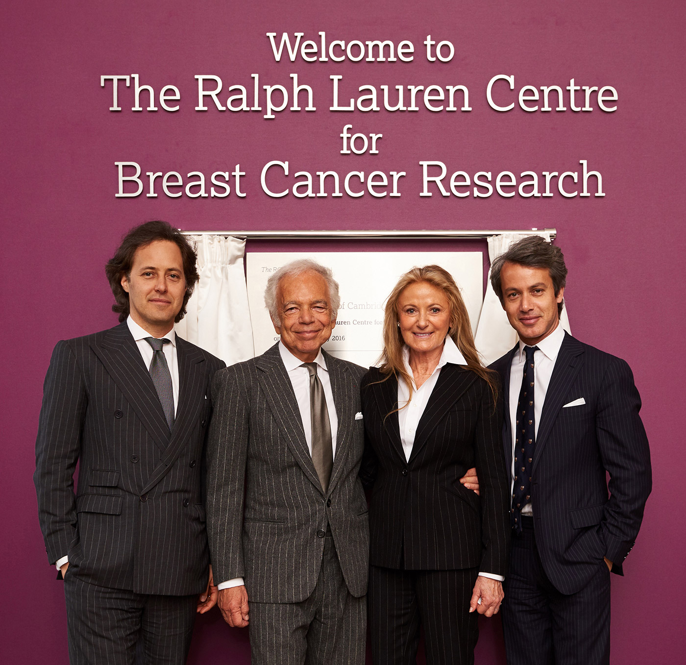 (Left to right) David, Ralph, Ricky, and Andrew Lauren at the unveiling of The Royal Marsden's new breast cancer research center
