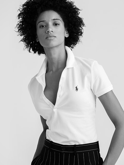 Woman modeling Slim Fit Polo shirt