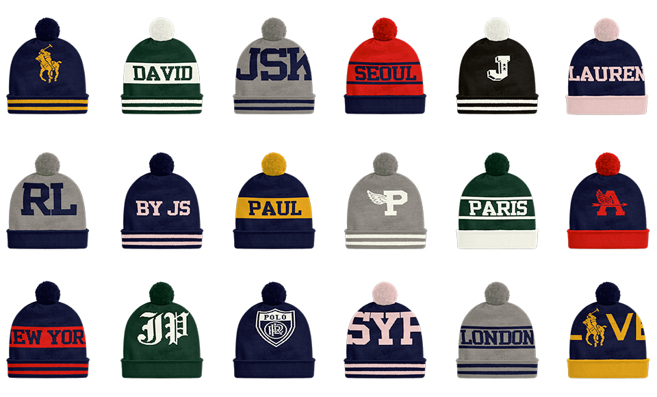 Grid of knit hats in various hues & with custom graphics