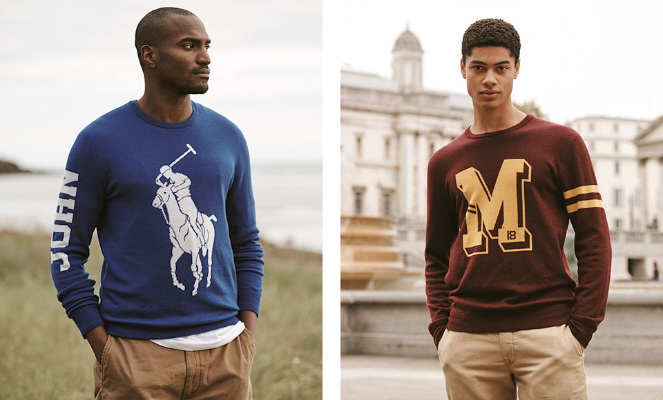 Man in Polo Pony–graphic sweater & man in M-graphic sweater