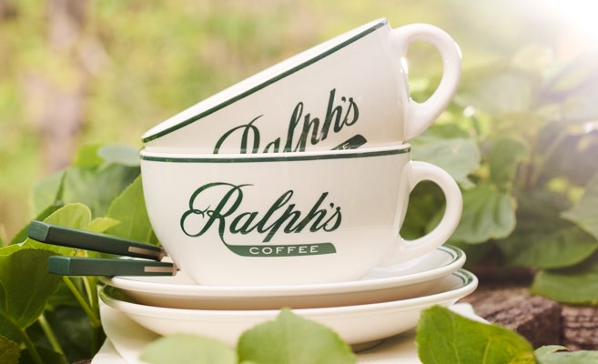 Off-white mugs with green Ralph's Coffee logo