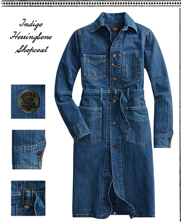 Belted blue shop coat