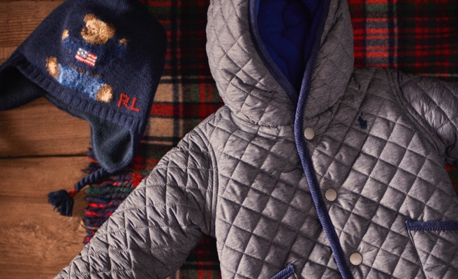 Diamond-quilted winter jacket & Polo Bear knit earflap hat.