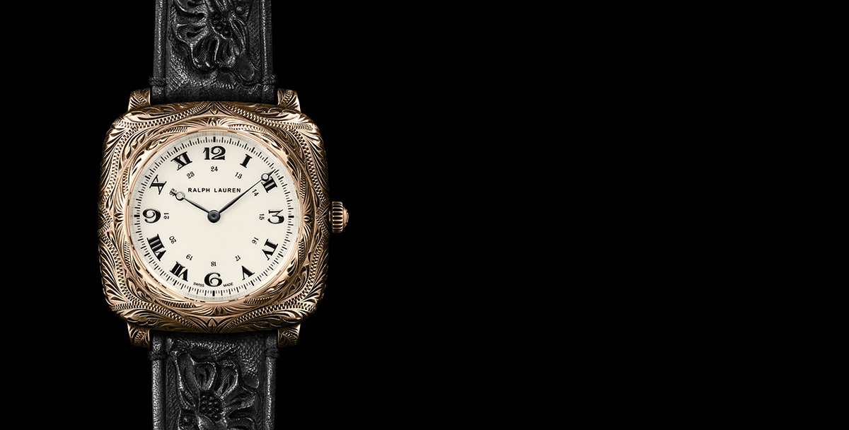 Squared watch with intricate engraving & hand-tooled black leather strap