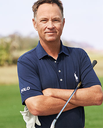 Davis Love III in navy Polo Golf shirt