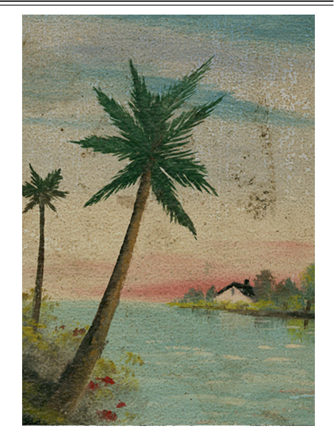 Baseball jacket with island & dragon motif & palm tree illustration