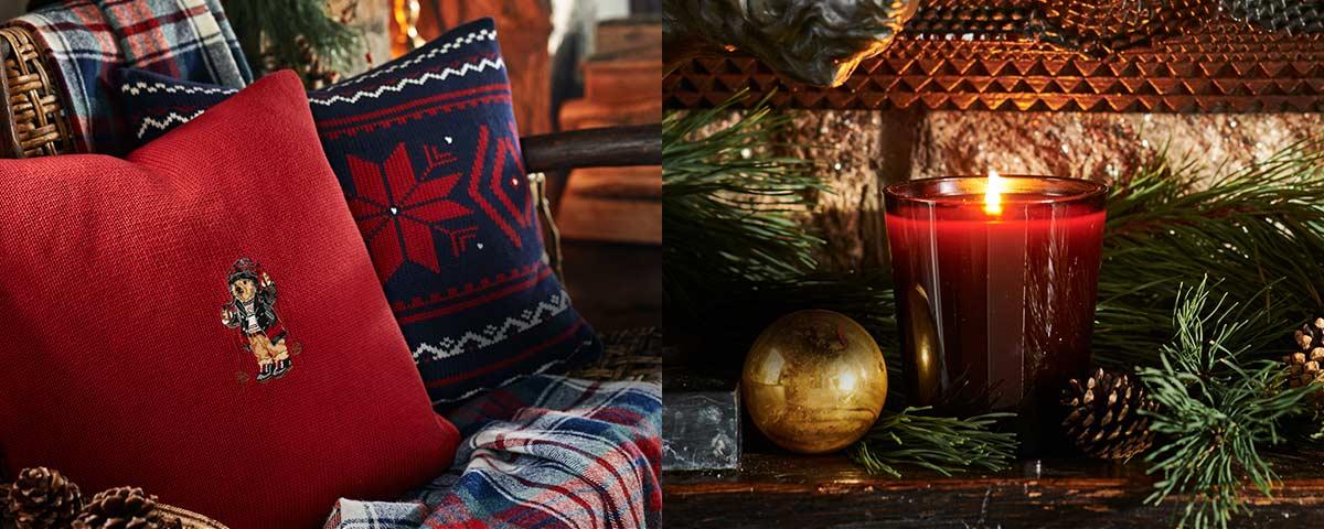 Polo Bear & snowflake throw pillows & festive candle