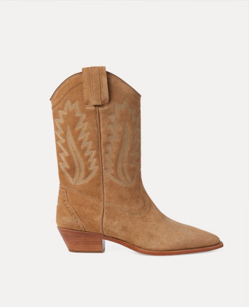 Tan suede boot with block heel & leaf motif at side