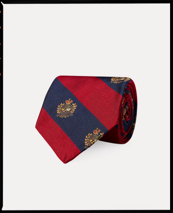 Navy & red striped tie with crest pattern