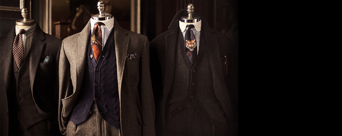 Vintage-inspired Polo suiting & tailoring on mannequins