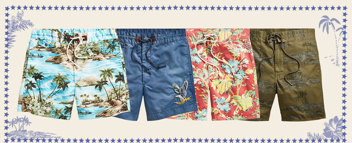 Row of shorts with tropical-inspired prints & drawstring ties at waist