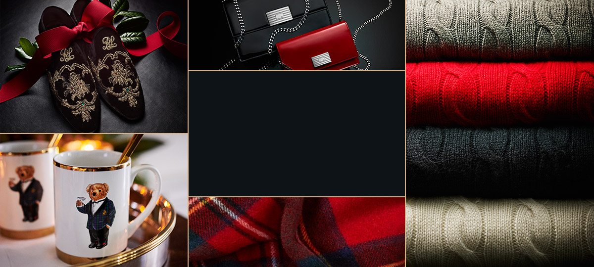 Collage of holiday product, including candles, slippers & sweaters