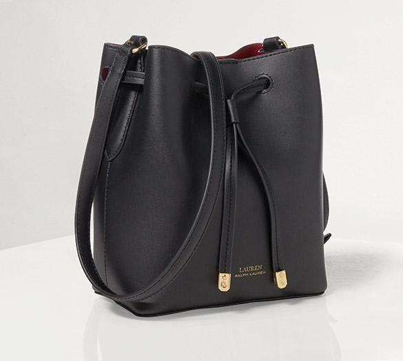 Black leather bucket bag with drawstring
