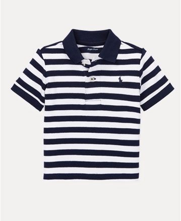 5d417175eb6b Navy-and-white striped short-sleeve Polo shirt