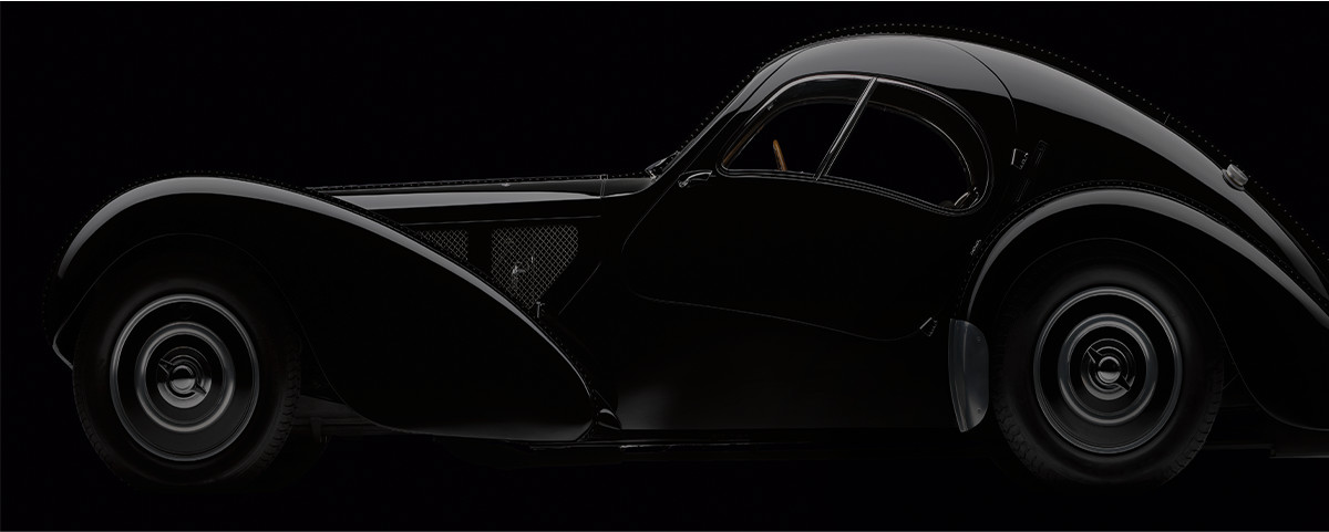 Silhouette of a vintage race car