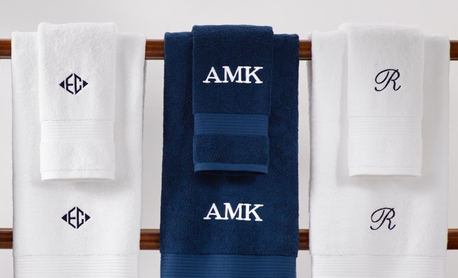 White & navy monogrammed hand towels