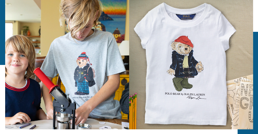 Boy wears Polo Bear T-shirt; girls' Polo Bear T-shirt featuring the rain coat bear.