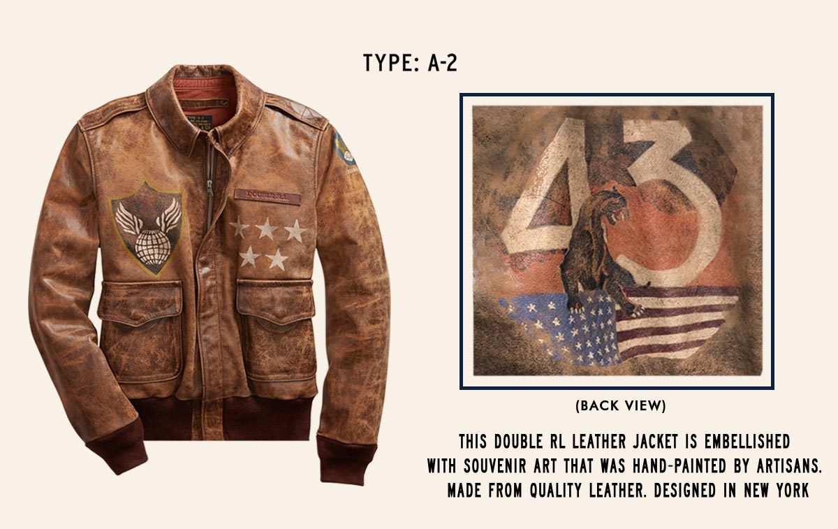 Rich brown leather jacket with panted flag, stars & globe motifs