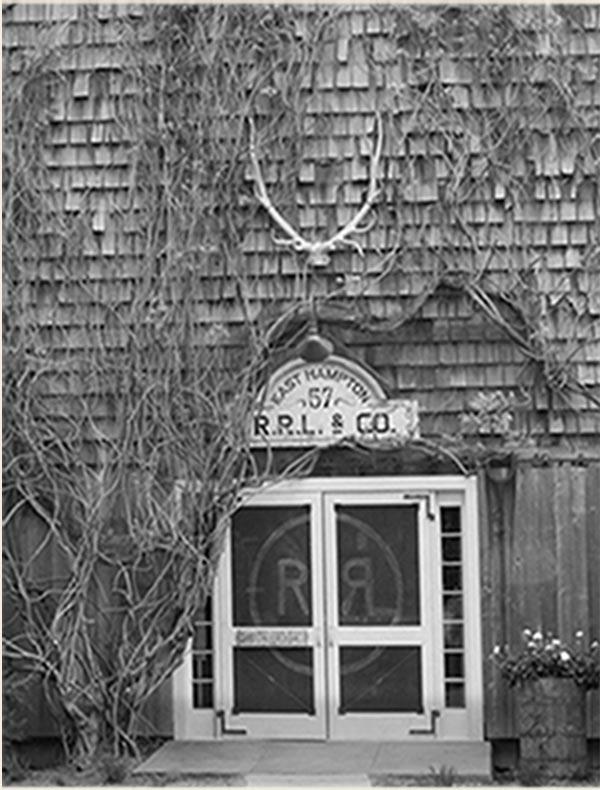 Greyscale photo of Double RL storefront