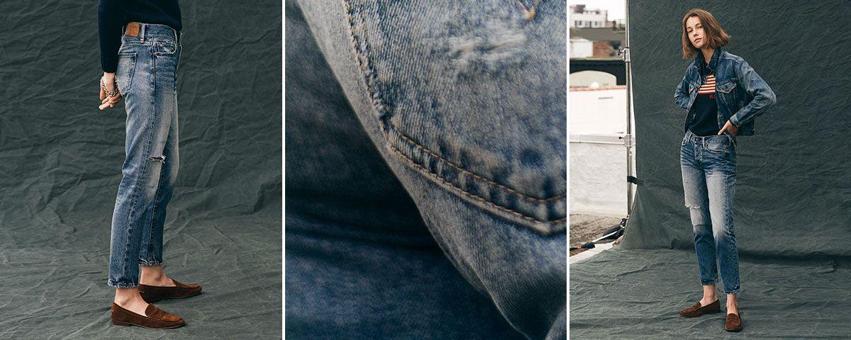Close-up of Avery Boyfriend jean; woman wears Polo denim.