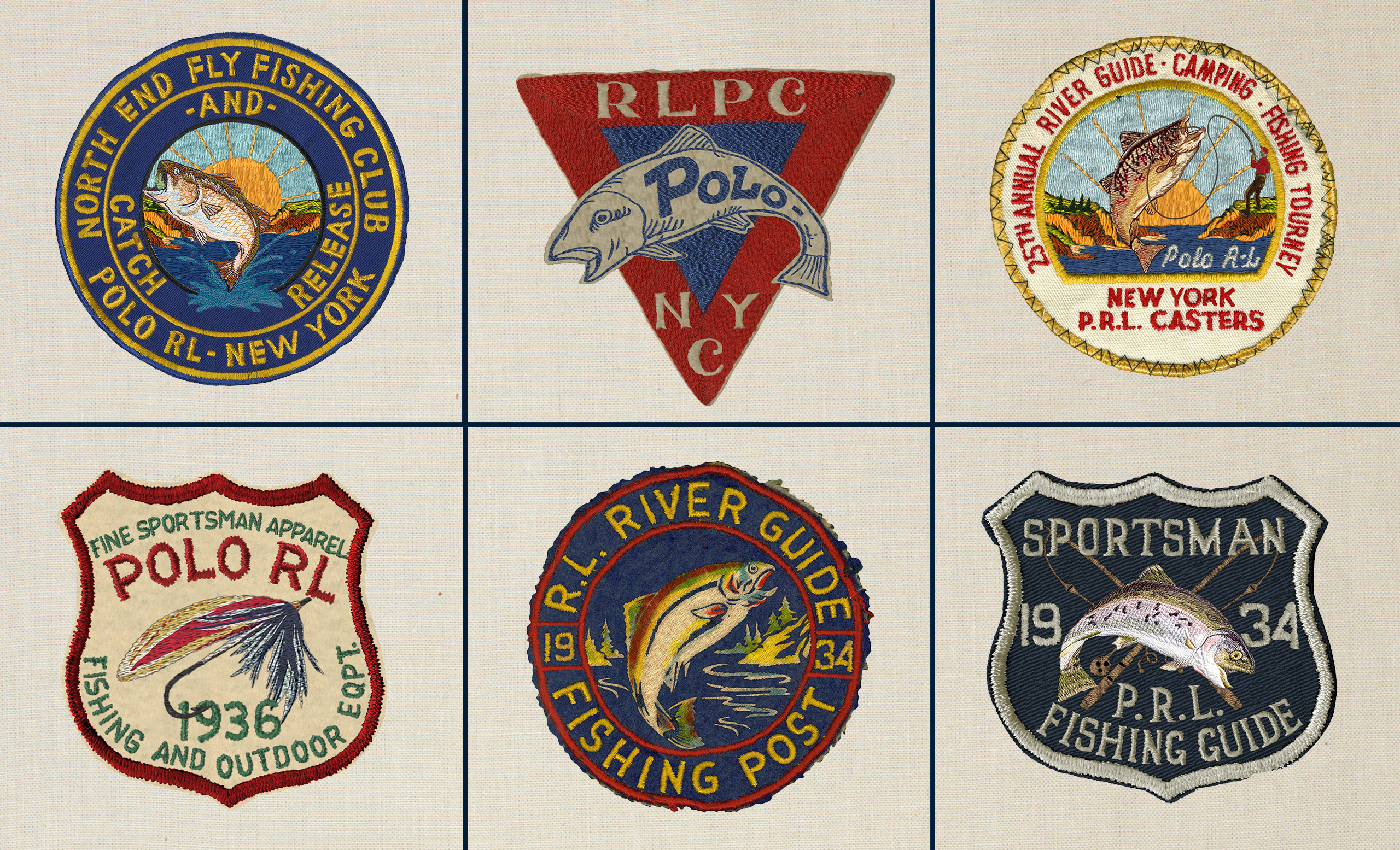 A selection of vintage fishing-inspired Ralph Lauren patches