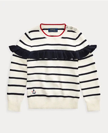 Navy and white striped sweater with ruffle at the chest.