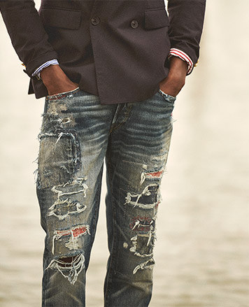 Close-up image of distressed jeans