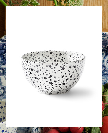 White bowl with navy star pattern