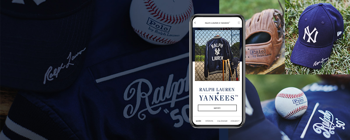 Photographs of Ralph Lauren x Yankees Collection items.