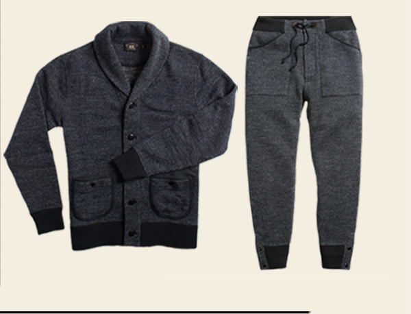 Grey shawl-collar sweatshirt with black trim & matching joggers