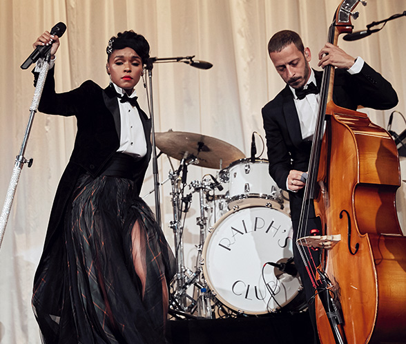 Janelle Monáe performing at the Ralph Lauren Collection Fall 2019 Runway Show