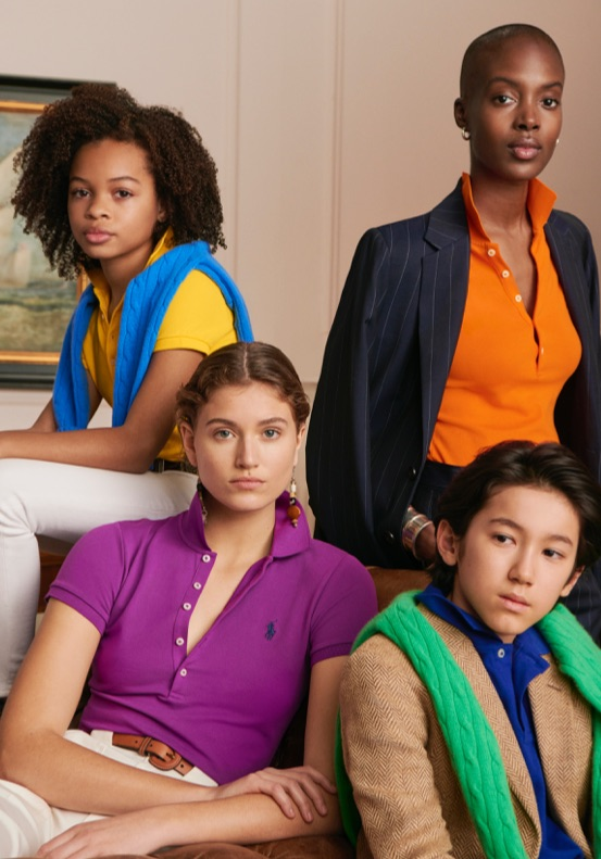 Family wears different colored Polo shirts.