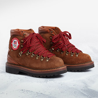 Brown suede boot with official U.S. Olympic team logo & red laces