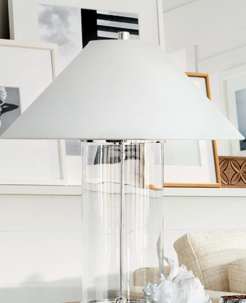 Lamp with white triangular shade & clear base