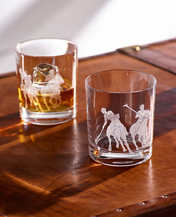 DOF glasses with sandblasted Polo Player motifs