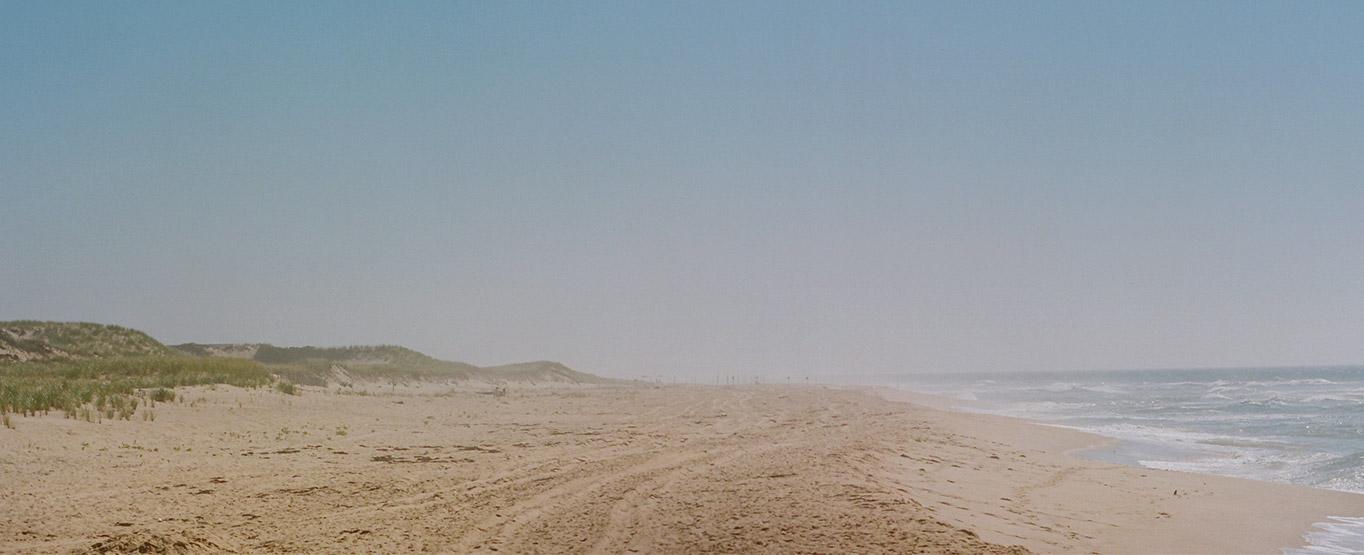 Misty beach scene