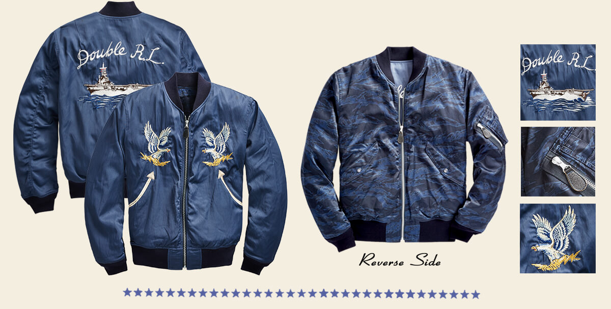 Blue satin bomber jacket with eagle & boat embroidery