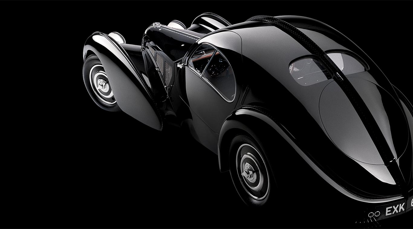 Ralph Lauren's sleek, black Bugatti coupe.