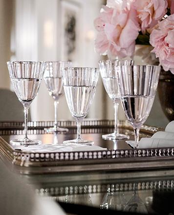 Crystal wine glasses with beveled edges