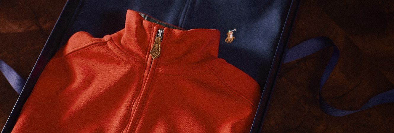 Red & navy quarter-zip pullovers with Polo Pony accent