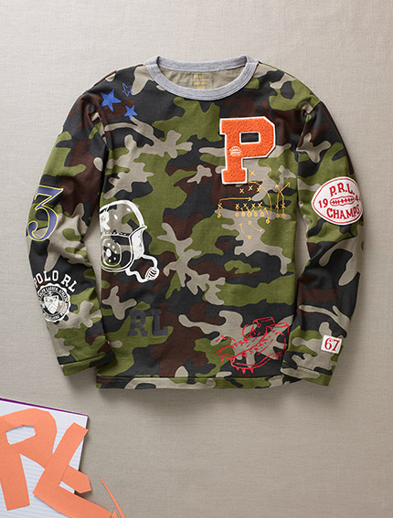 Camo-print long-sleeve T-shirt with allover patches.