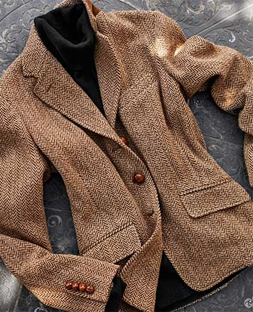 Herringbone blazer with woven leather buttons